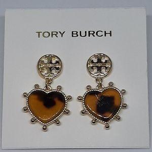 Tory Burch Tortoise Heart & Gold Drop Earrings